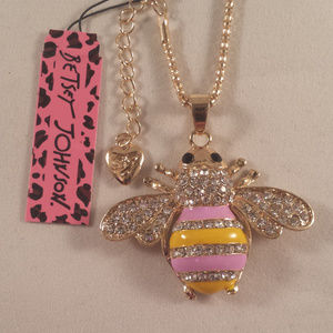 Betsey Johnson Bumble Bee Crystal Necklace + Gift!